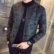 2018 Autumn New Jacquard Bomber Jackets Men Luxury Wine Red Black Party Jacket Outfit Club Bar Coat Men Casaca Hombre