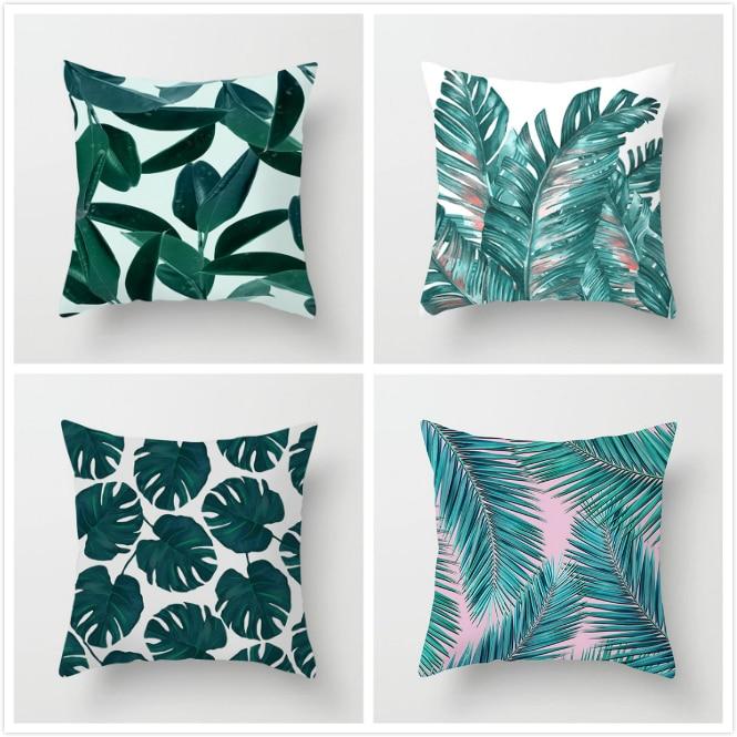 Fuwatacchi Tropical Print Cushion Cover Plant Green Leaf Throw Pillows Cover for Home Sofa Chair Decorative Pillows 45*45cm