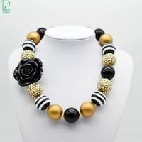 chunky black flower necklace kids girls gold bubblegum bead choker 2020 new fashion costume jewelry child chunky flower necklace