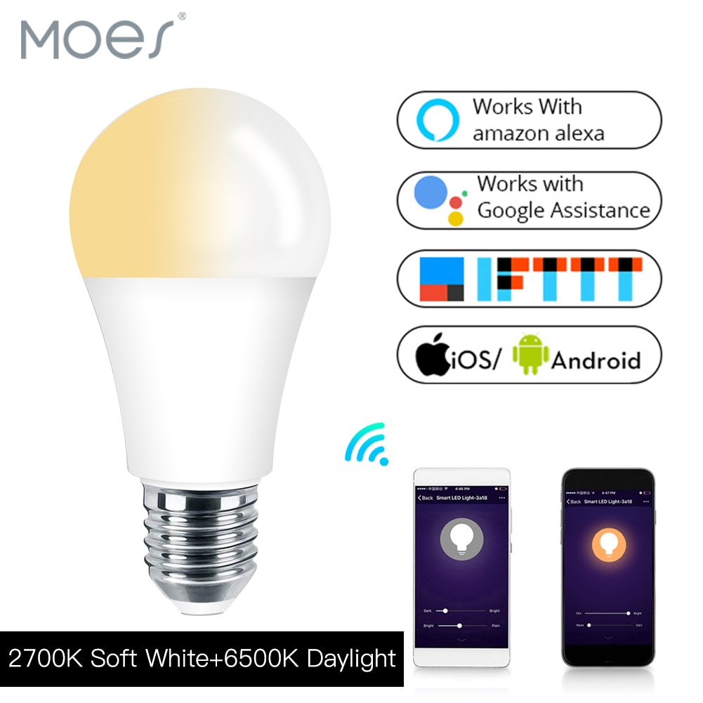 Lampe avec Alexa Echo Google E27 E26 7 W, blanc chaud et froid, Smart Life/Tuya, APP télécommande WiFi, Smart ampoule LED