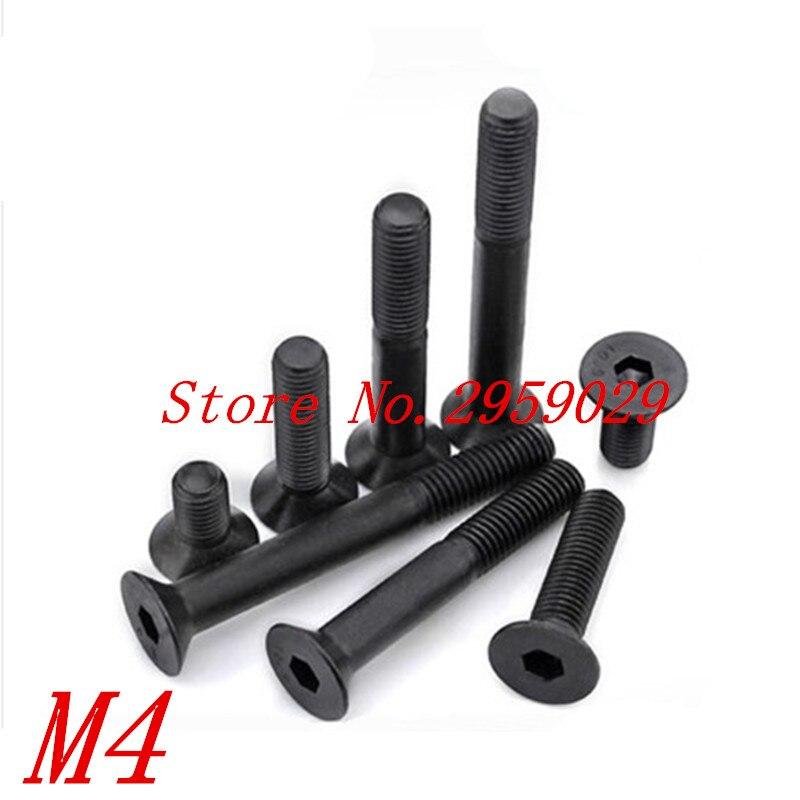 100 шт. M4x6/8/10/12/16/20/25/30 класс черного оксида 10,9 класс DIN7991 легированная сталь Шестигранная розетка плоская головка CSK винт