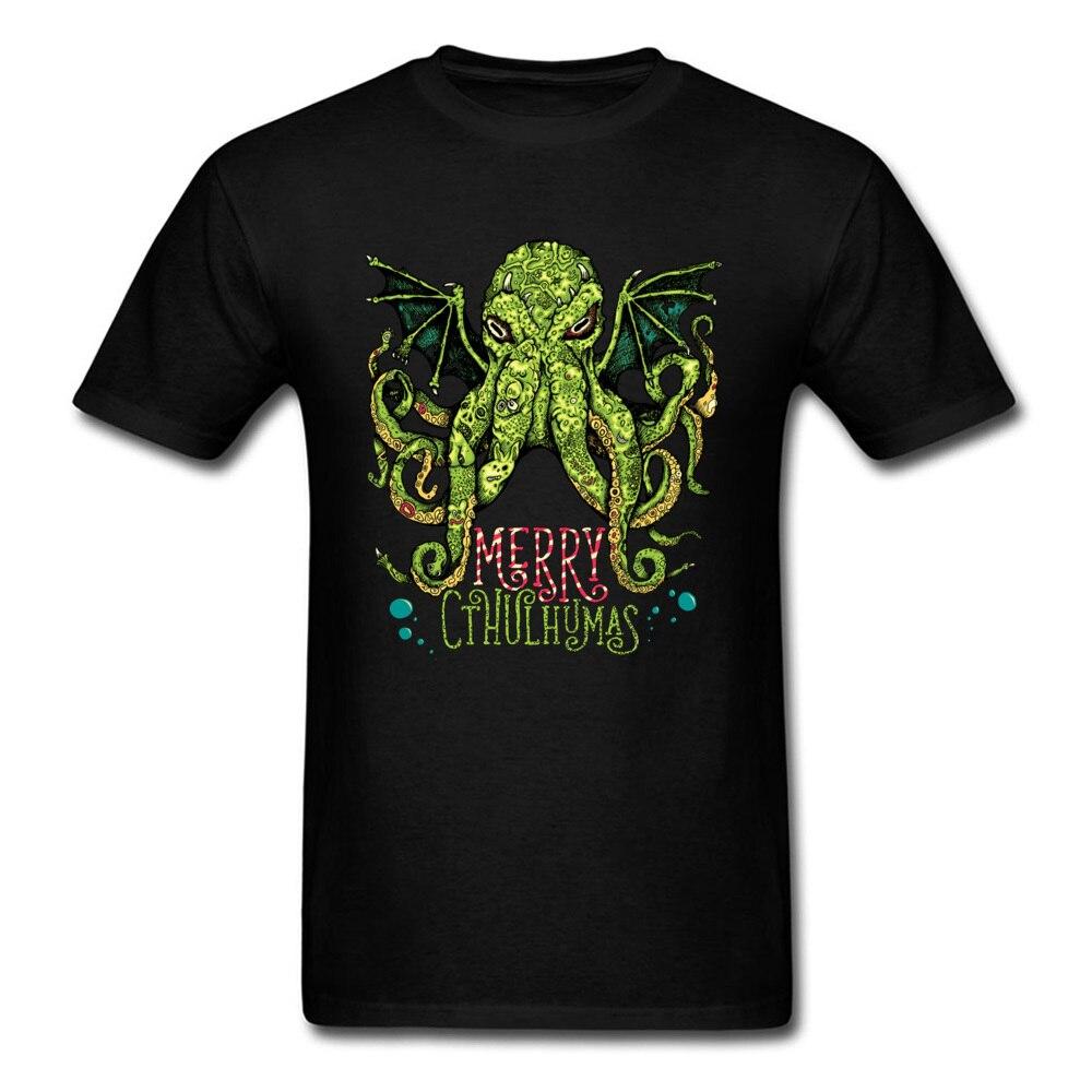 Natal t camisa feliz cthulhumas topos roupas masculinas octopus t monstro cthulhu camiseta natal namorado presente tshirt preto