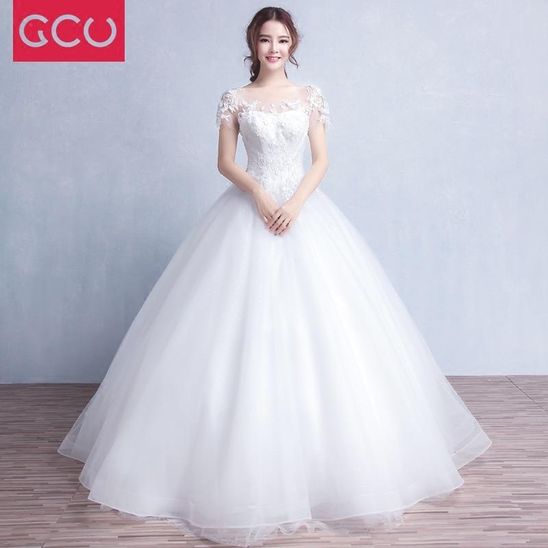 Vestido de fiesta de alta calidad de moda vestidos de Weding de manga corta vestido de novia de encaje con apliques