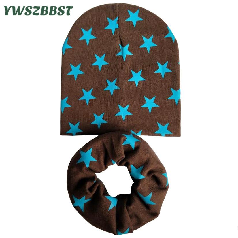 New Autumn Winter Girls Hat Set Crochet Children Hats Girl Boy Cap Baby Beanies Caps Spring Toddlers Kids Hat Scarf Collars