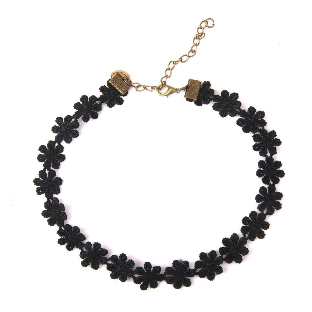 Gargantilla collares encaje flor Margarita negro