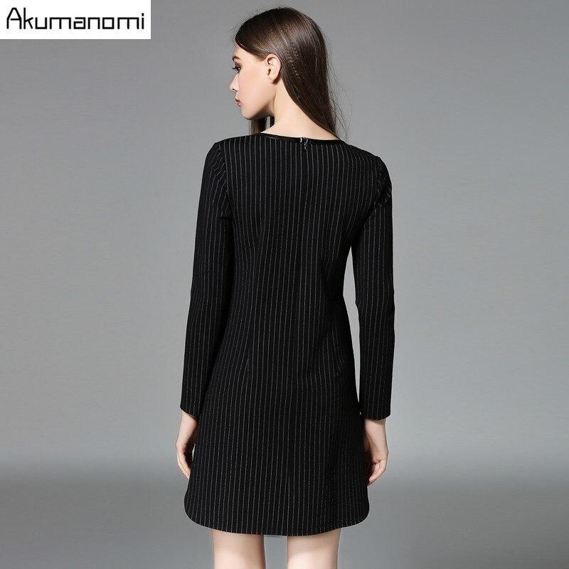Vestido de otoño a rayas ropa de mujer negro cuello pico manga larga bolsillo recto breve vestido de Primavera de talla grande 5xl 4xl 3XL 2XL XL L M