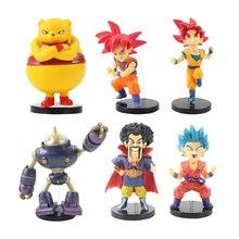 6 pièces/lot Dragon Ball Z Super Saiyan Goku Gohan rouge bleu cheveux végéta troncs Q Version PVC figurine modèle jouets à collectionner