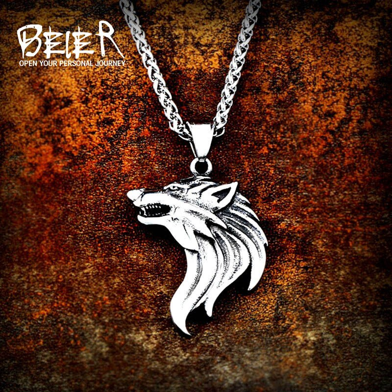 Beier 316L Acero inoxidable cabeza de Lobo amuleto nariz vikingo COLLAR COLGANTE hombres regalo joyería animal de moda de alta calidad LP409