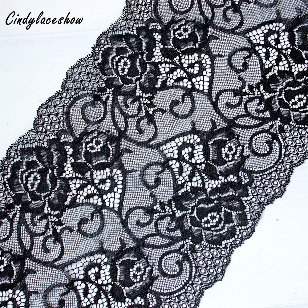 1 yarda 19cm de ancho negro elástico bordado cinta para ajuste, Cordón de tela DIY accesorios de costura artesanal boda suministros de prendas de pelo