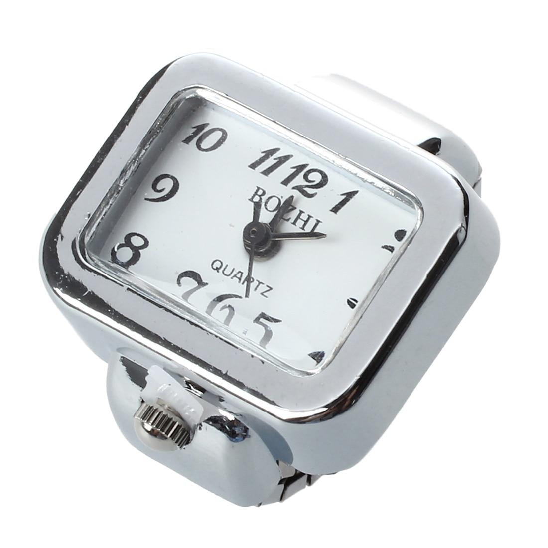 Reloj de cuarzo anillo reloj digital Dial árabe rectángulo blanco Unisex joyería