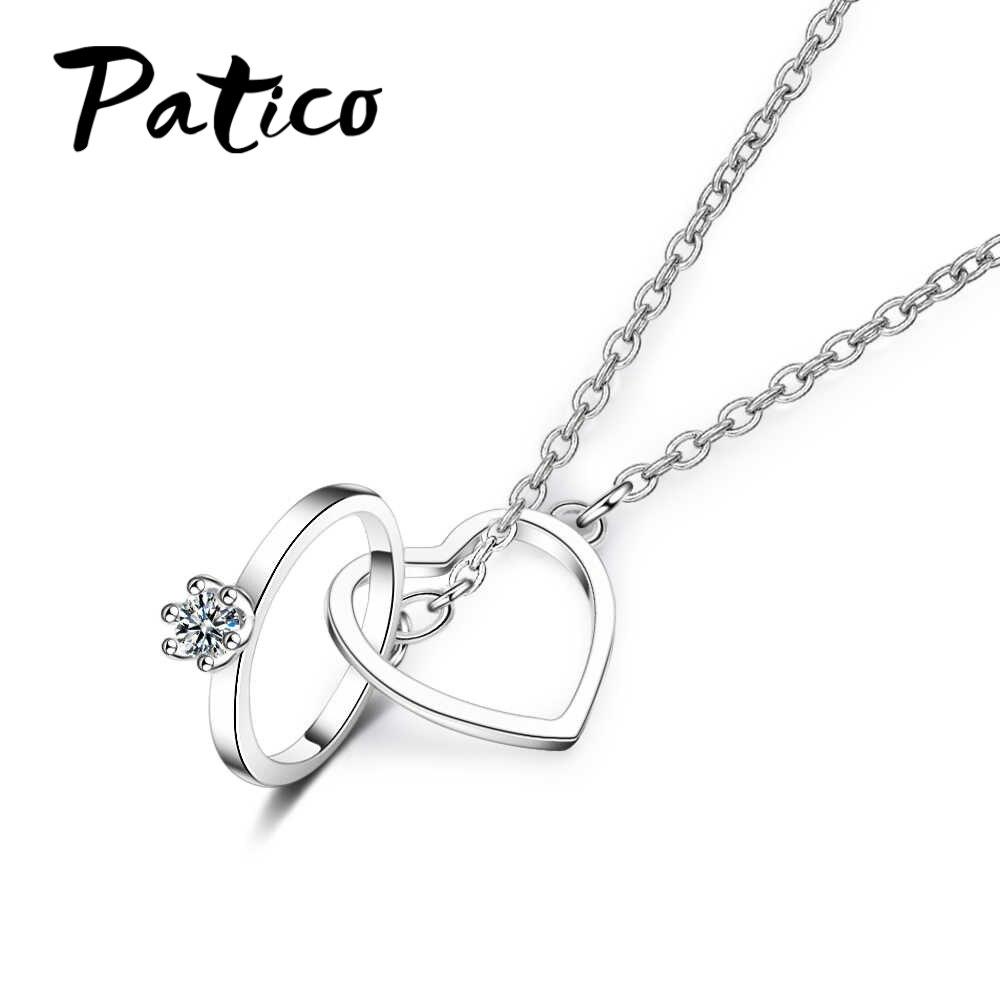 Free Shipping Women Crystal Chain Rhinestone Necklace Cute Love Heart Jewellery Pendant  Full jewelry heart necklace