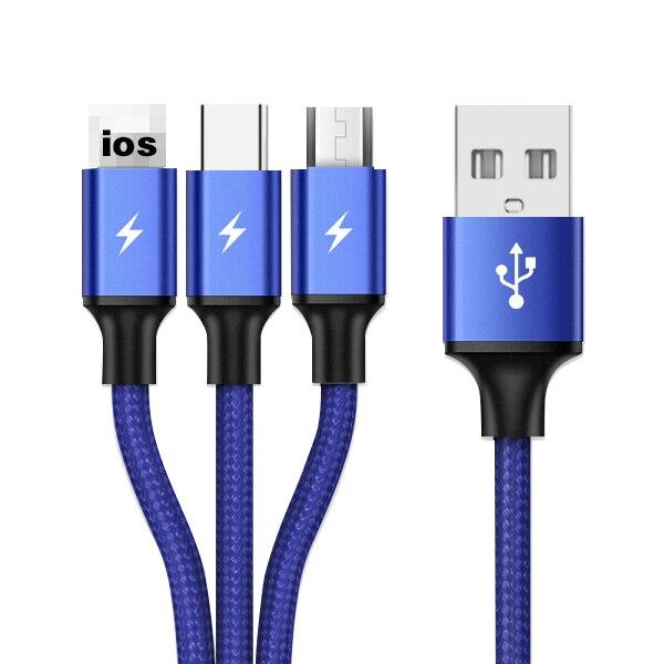 3 en 1 Type C Micro USB Multi chargeur câble pour Xiaomi Redmi Note 5 Samsung A60 S9 S8 téléphone portable USB cordon USB-C chargeur Cabel