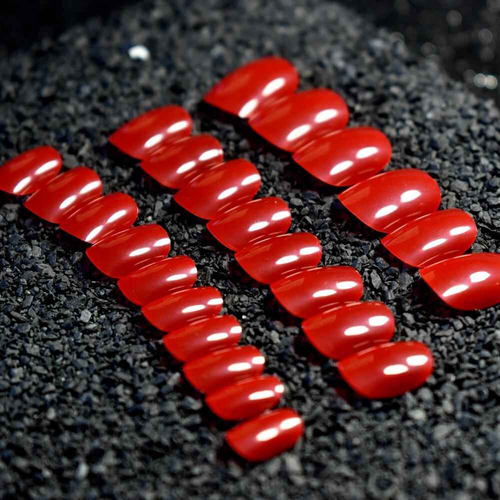 24 Uds puntas de uñas postizas bonitas para niños rojo transparente cubierta completa acrílica uñas postizas arte para niñas niños