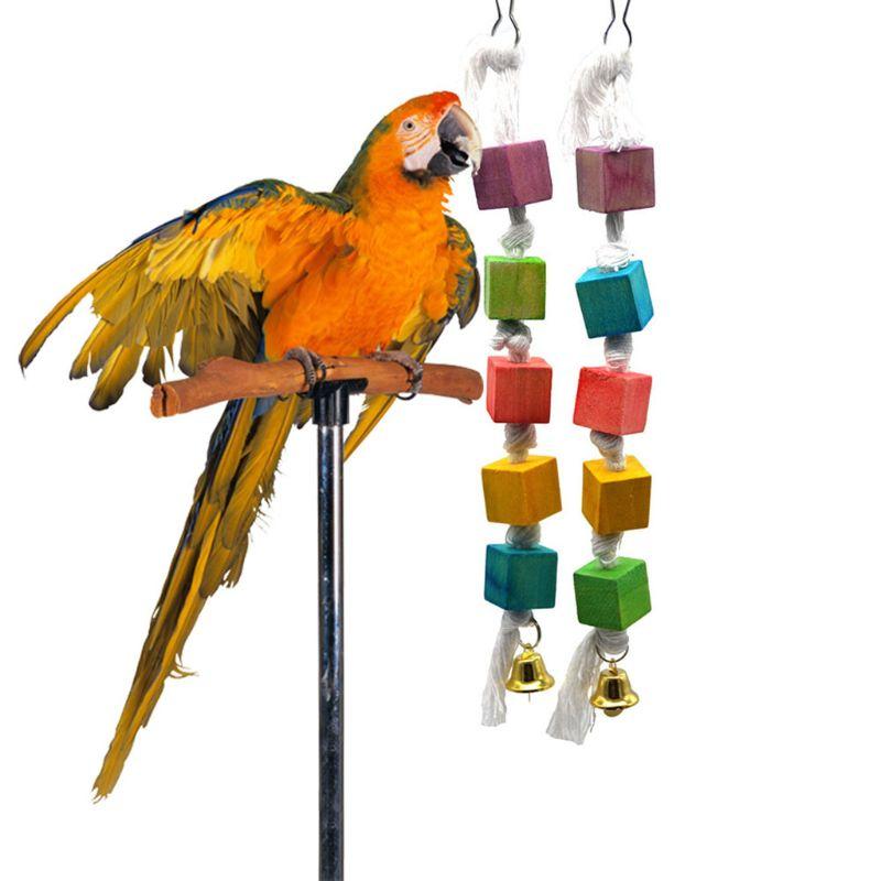1 unidad de loro mordedor pájaro de juguete periquito bloques de madera atraen la atención de las mascotas cuerda colgante de Madera Juguetes Artículos para aves C42