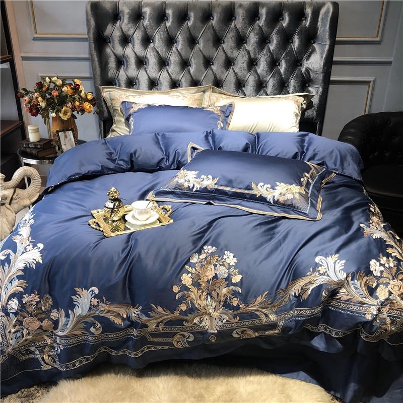 Juego de cama de lujo de 1000TC de algodón egipcio dorado con bordado real de Palacio, funda de edredón azul champán, sábanas, fundas de almohada de lino