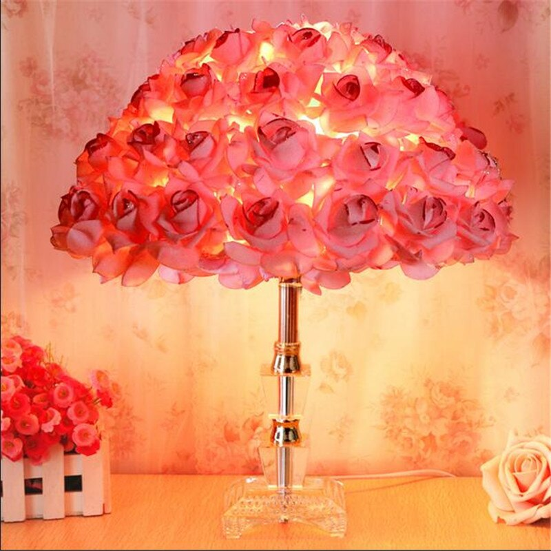 rosas de tecido de moda romantico criativo cristal led e27 candeeiro de mesa para