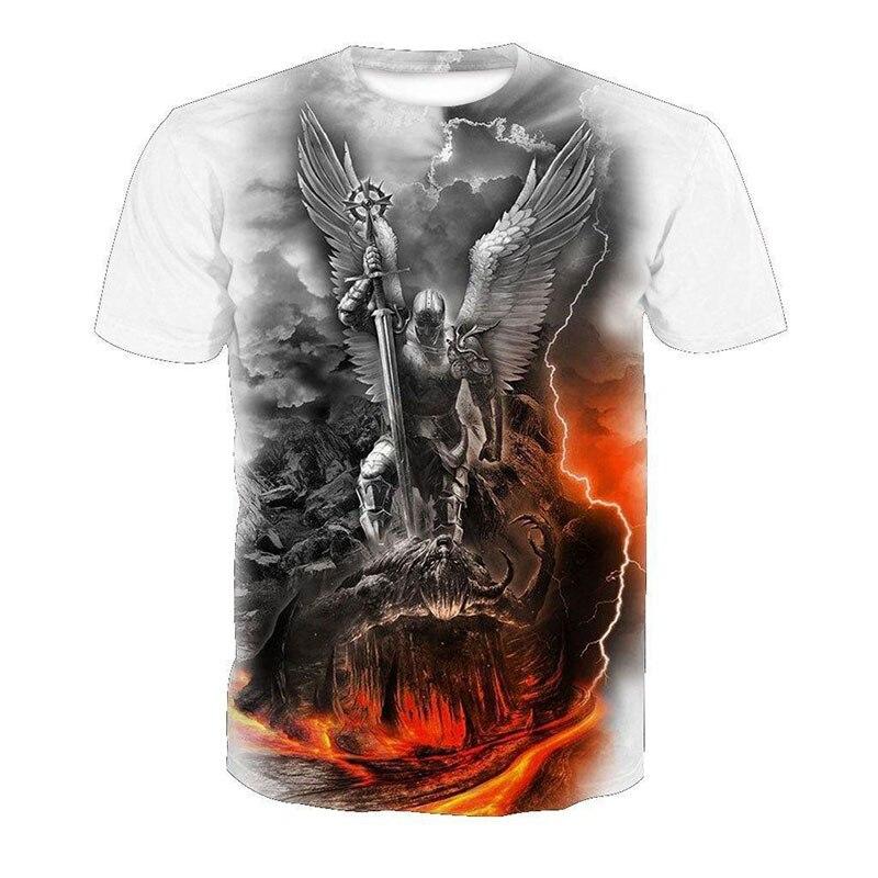 Cloudstyle 2020 Skull 3D Tshirts Men Women Angel Demon War 3D Print Short Sleeve Tees Shirts Streetwear Summer Top Plus Size 5XL