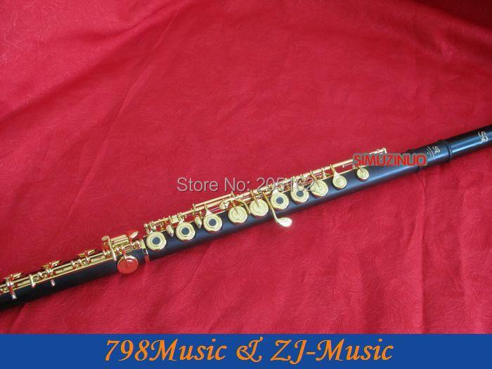 Gold Plated L African Blackwood Grenadilla Flute-B foot-Open Hole-Split-E-Inline-G-American Headjoint-NO.6