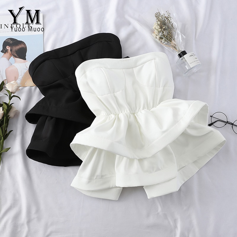 YuooMuoo Hot Off Shoulder Ruffle Top Women 2020 High Quality Comfy Summer Shirt Elegant High Waist Wrap Blouse Ladies Tops