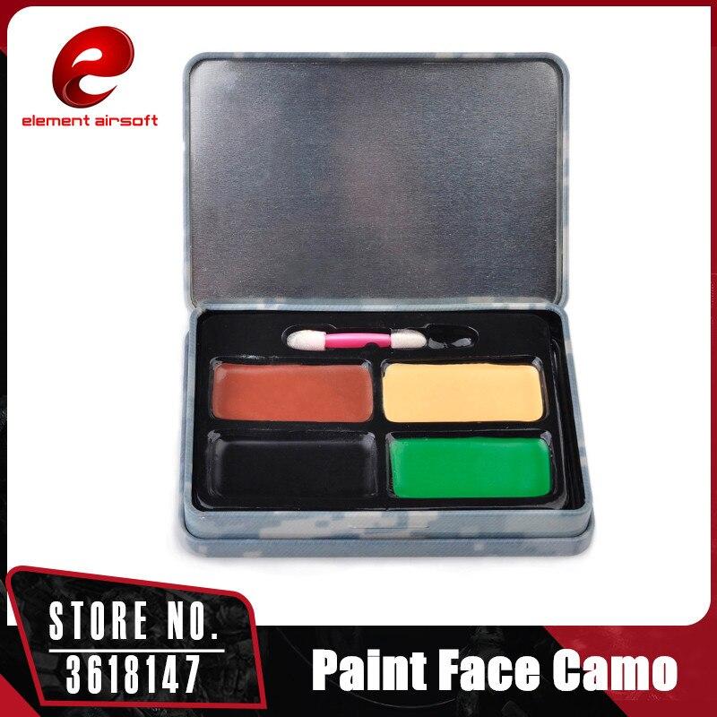 Kit de maquillaje para pintar cara camuflaje táctico elemento 4 colores Airsosft ejército Fans camuflaje militar EX412