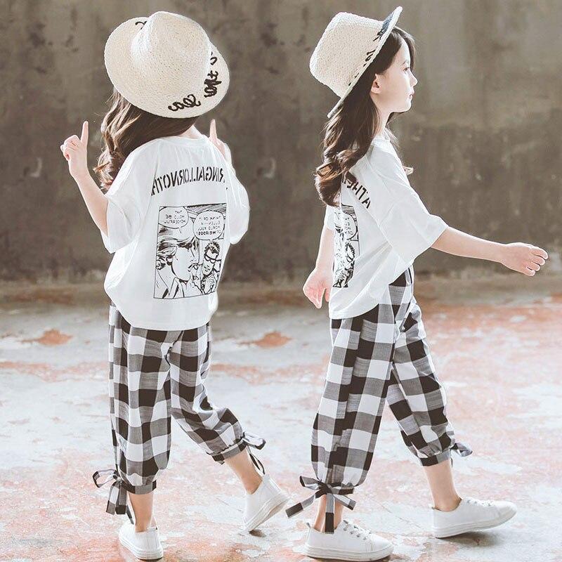 Conjunto de ropa de verano 2020 para niñas, camiseta de manga corta + Pantalones casuales, ropa de niña adolescente 8 10 12 14 años, atuendo de regreso a la escuela