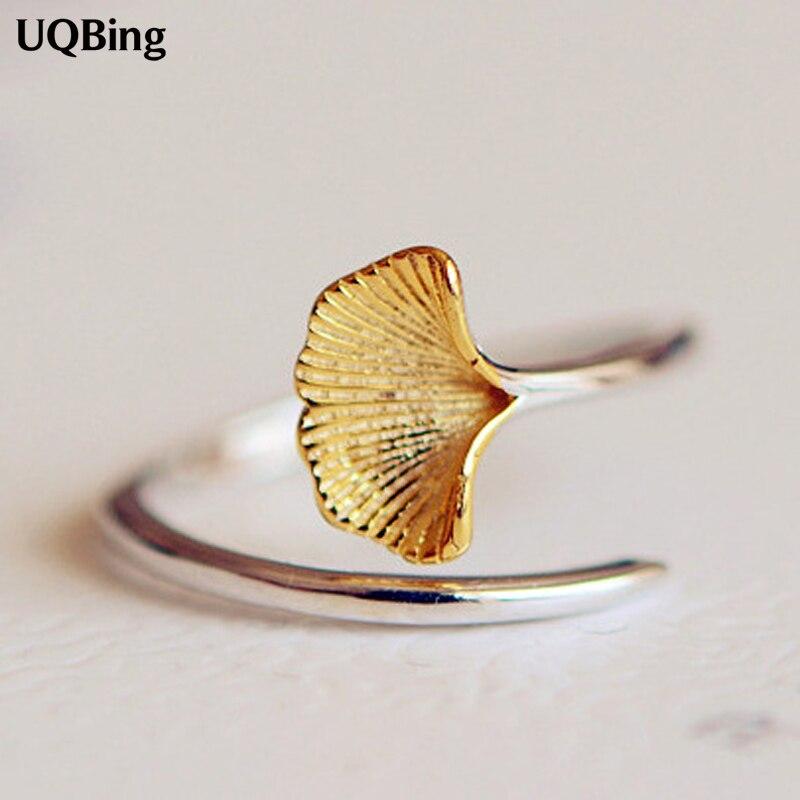 Nuevas llegadas 925 anillos de plata esterlina para mujer chica joyería Ginkgo anillos de flores anillos ajustables