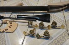 One set 5strings 3/4 Upright Bass part(neck,fingerboard,bridge,tailpiece,pegs )