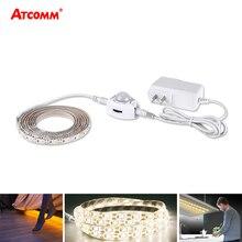 Veilleuse sous les armoires, 5M LED, détecteur de mouvement PIR, haute luminosité, avec adaptateur dalimentation 12V, pour lit, couloir, escalier, 5m, 60 LED s/M