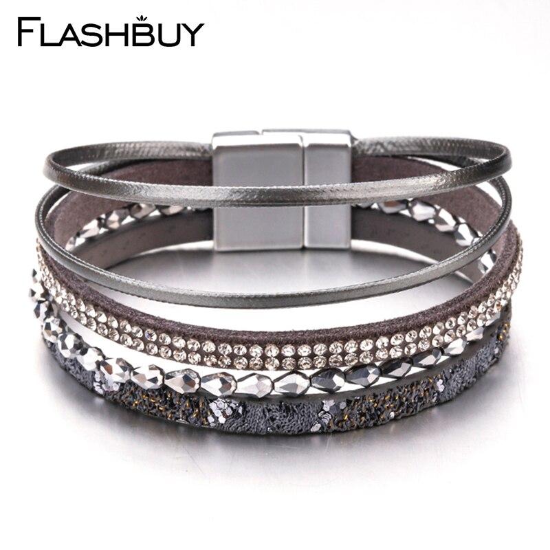 FLASHBUY aleación Simple de cristal pulseras de cuero para las mujeres encantos magnético multicapa brazaletes anchos regalo de joyería de moda
