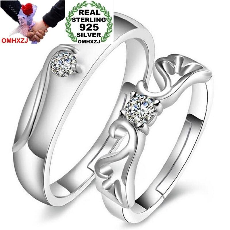 Omhxzj atacado moda romântico anjo amantes aaa zircão diamante 925 prata esterlina aberto ajustar feminino para mulher homem anel rg02
