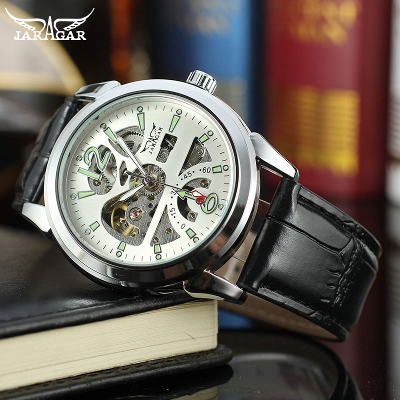 JARAGAR ساعة ميكانيكية فاخرة tourمليار تصميم ساعة مقاومة للصدمات التلقائي الذاتي الرياح الرجال الساعات انخفاض الشحن بالجملة
