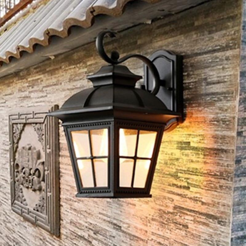 HAWBOIRR LED European style simple outdoor villa balcony waterproof traditional corridor lamp retro indoor living room wall lamp