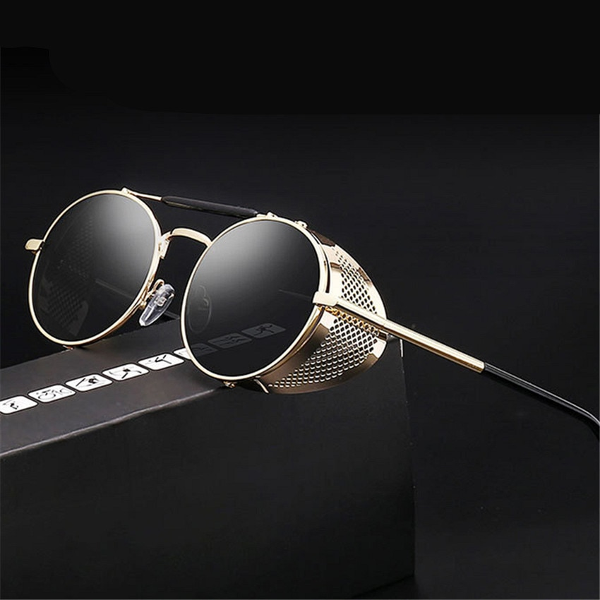 Retro Steampunk Sunglasses Round Designer Steam Punk Metal Shields Sunglasses Men Women UV400 Gafas