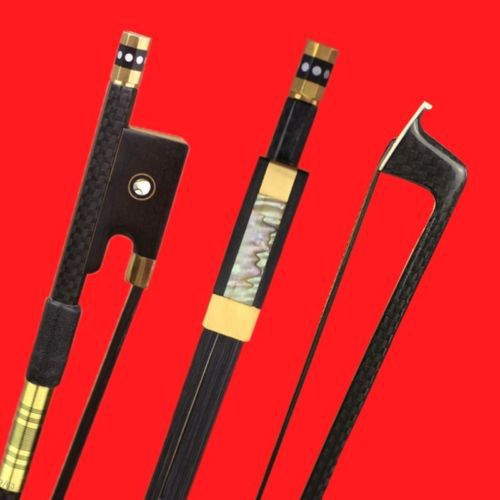 surveal handmade master carbon fiber cello bow natural white horse hair ebony frog carved best elastic with warm sound size 4 4 High Quality 1 Pc Professional New Light Plaid Carbon Fiber 4/4 Violin Bow Copper Part Black Horse Hair Double Pairs Eye Frog