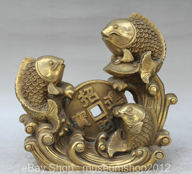 "10 ""feng shui chino latón peces año pescado moneda y riqueza estatua escultura"