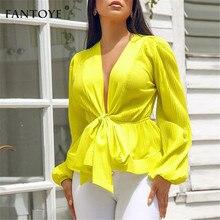 Fantoye Women Sexy V-Neck Yellow Blouse Elegant Slim Waist Bandage Puff Sleeve Blouse Lady Summer Autumn Shirt Tops Streetwear