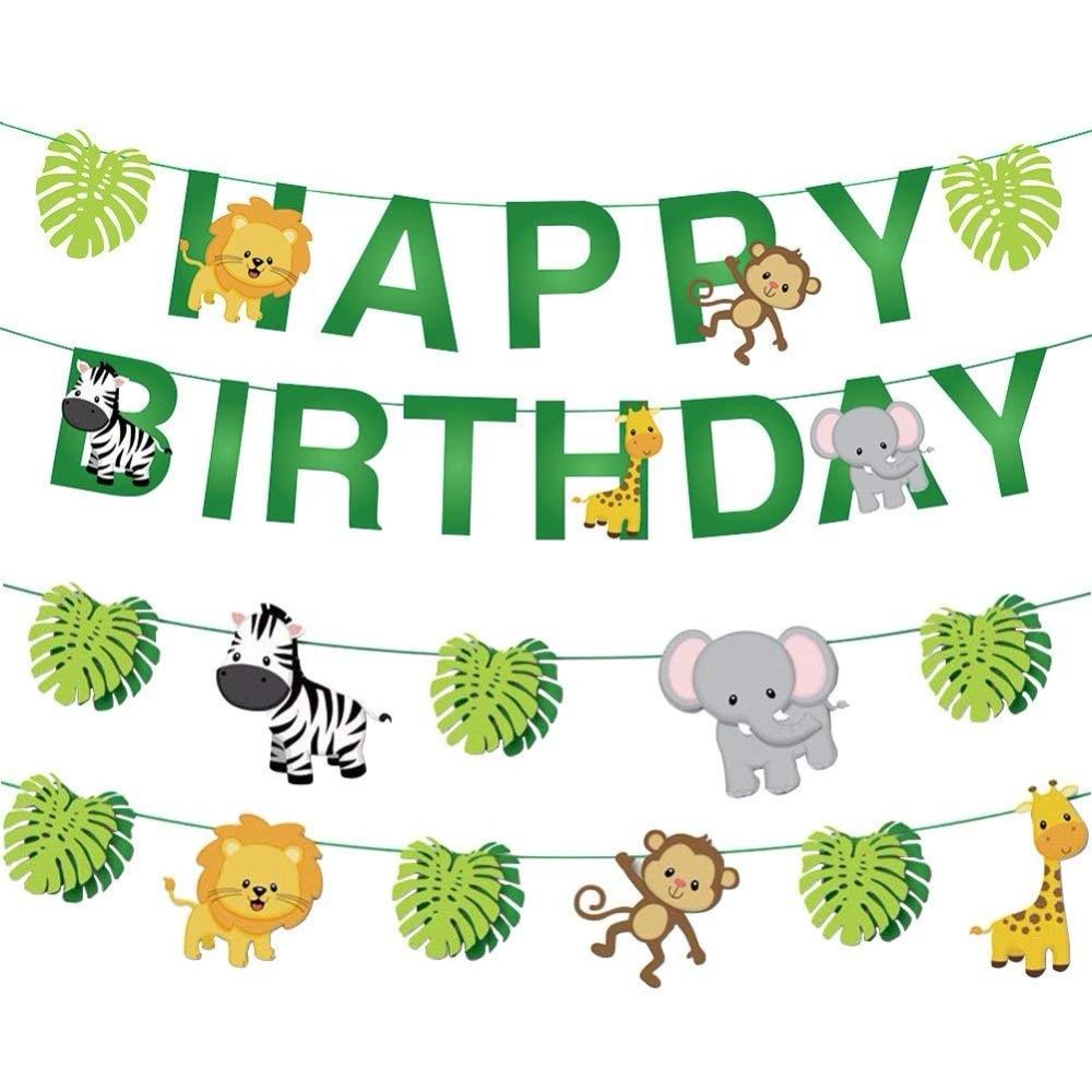 Bandera de hojas de animales de la selva, conjunto de decoración de banderines de feliz cumpleaños, guirnalda de bosque, bosque de Safari, vida salvaje, mono, León, jirafa