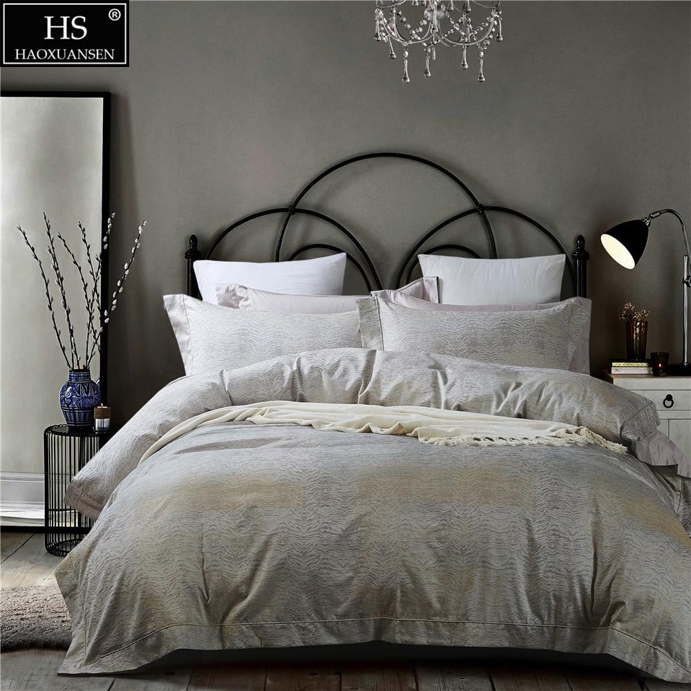 Juego de cama de 4 piezas de Jacquard de hilo teñido sábana de algodón egipcio funda de edredón funda de almohada árboles texturas diseño Queen King Size
