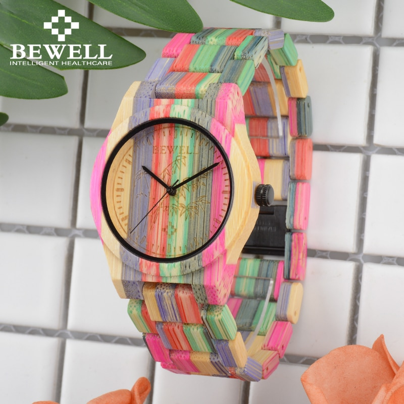 Женские кварцевые часы BEWELL 105DL, разноцветные наручные часы из бамбукового дерева ручной работы, разные цвета, бесплатная доставка