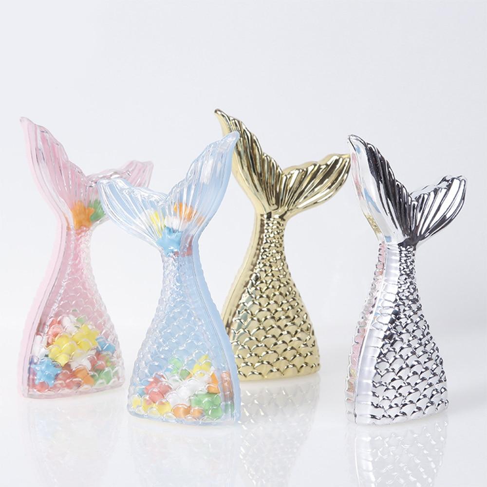 12 Pcs Plastic Mermaid Shape Candy Box Round Chocolate Candy Boxes Wedding Birthday Baby Shower Decoration