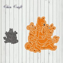 Bear holding two little tigers metal cutting dies cut die frame Scrapbook paper craft knife mould blade punch stencils dies