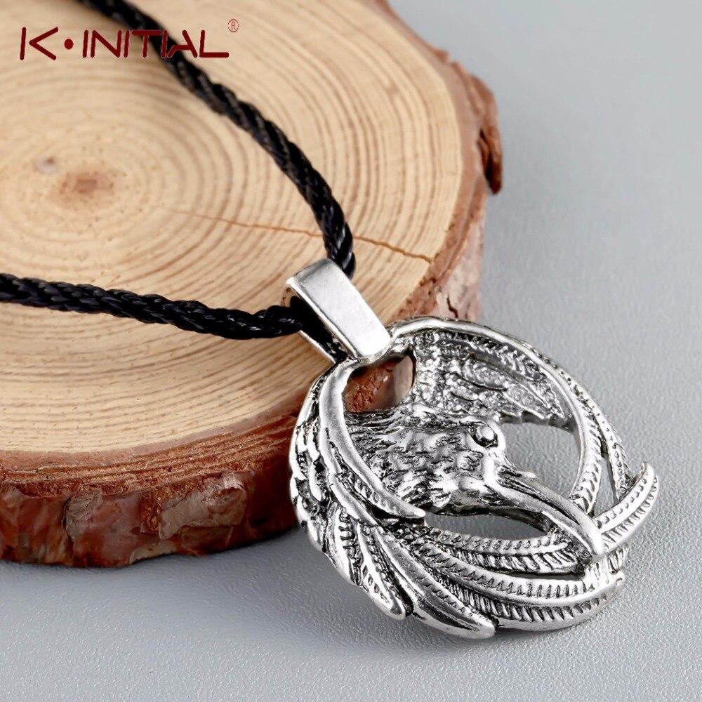 Kinitial Vintage Nordischen Tier Raven Halskette Odin der Viking Anhänger Halsketten Crow Runes für Unisex Amulette schmuck