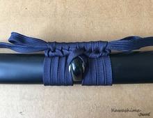 Sageo-cordon demballage en laine bleu profond   Cordon de qualité supérieure pour épée de samouraï japonais, Scabbard flambant neuf-noir