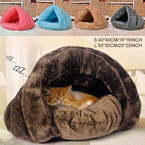 Nueva mascota perro gato cueva iglú cama cesta casa gatito suave y acogedor interior cojín perrera caliente