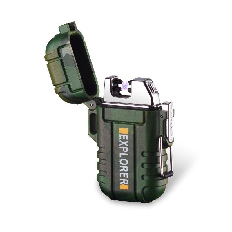 Briquet électronique de Camping USB Plasma double Arc   Nouveau briquet de Camping dextérieur Rechargeable étanche, briquet à impulsion croix de tonneau