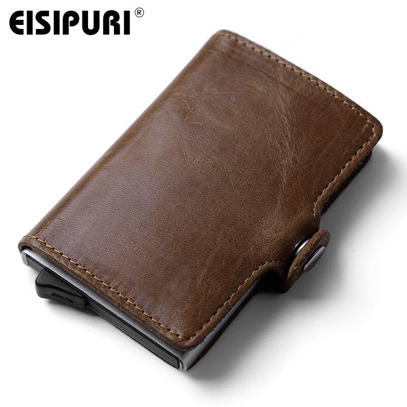 Кошелек EISIPURI из натуральной кожи для мужчин, мини-кошелек, безопасный, многофункциональный, алюминиевый, автоматический, поп-ап