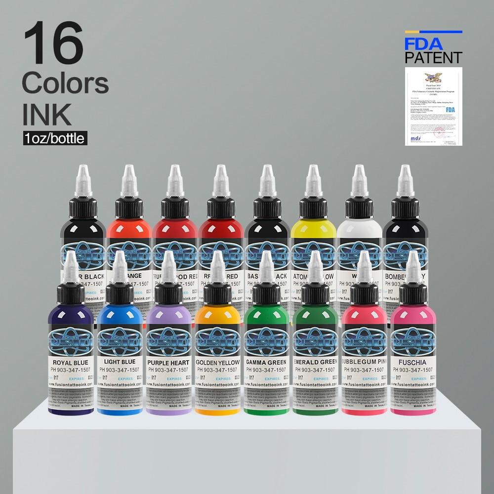 16Pcs Tattoo Ink Fusion tattoo inks 16 Colors Set 1 oz 30ml/Bottle Tattoo Pigment Kit for 3D makeup beauty skin body art.