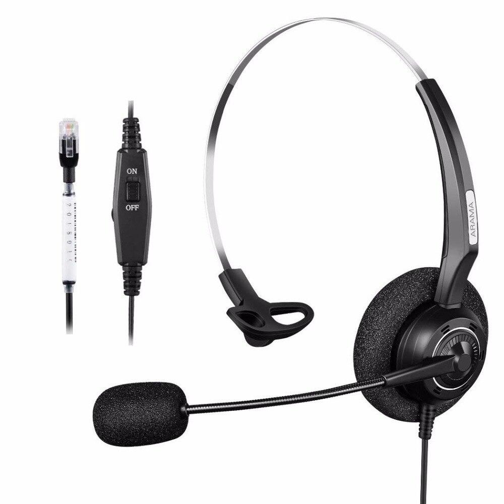 Centro de Llamadas Wantek Arama, auriculares de teléfono RJ con cancelación de ruido para Avaya 1608 1616 Panasonic KX-T Yealink T20P T21 Snom 300