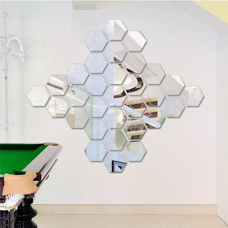 12 pçs acrílico 8cm sexangle espelhado adesivo decorativo arte da parede espelho decorativo adesivos de parede decalque quarto decoração