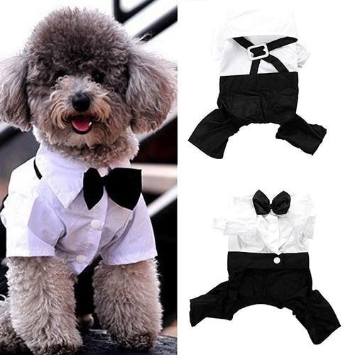 Hot! Pet Dog Cat Clothes Prince Tuxedo Bow Tie Suit Puppy Costume Jumpsuit Coat S-XXL 456fwr32 Dog Clothes Suit for dogs
